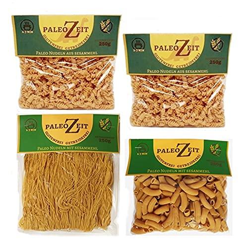 4x PALEO Nudeln aus Sesammehl Kohlenhydratreduzierte Pasta GLUTENFREIE Nudeln Gourmet Pasta Delikatesse 4x 250g (2x Spiralnudeln/Fussili - 1x Rigatoni - 1x Suppennudeln/Engelshaar)