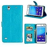Fatcatparadise Kompatibel mit Sony Xperia C4 Hülle + Bildschirmschutz, Flip Wallet Hülle mit Kartenhalter & Magnetverschluss Halterung PU Leder Hülle handyhülle (Blau)