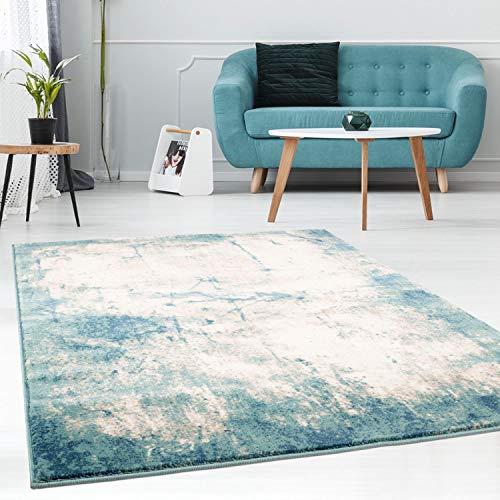 Teppich Flachflor im Vintage-Look, Modern, Meliert in Pastell-Blau, Creme, Beige für Wohnzimmer Größe 160/230 cm