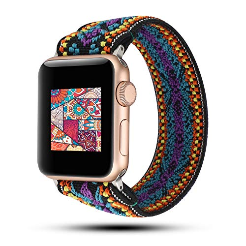 WONMILLE Scrunchie Band Compatible with Apple Watch Band Series 5/4 38mm/40mm, Nylon Elastic Bracelet Women Replacement Wristbands for iWatch 3/2/1 42mm/44mm Accessories (Folk-Custom, 38mm/40mm)