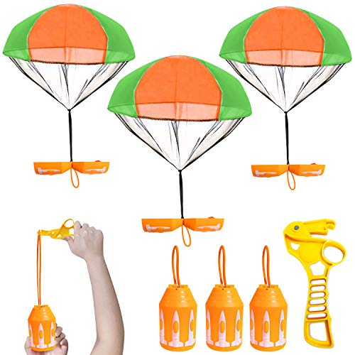Flying Parachute with Launcher Toys for Kids Adults - 3 Pack Amazing Rocket Transforming Parachute Toys with Led Light