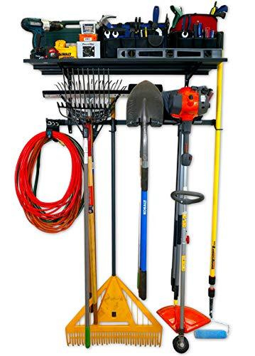StoreYourBoard Tool Pro Essential Garage Rack, Equipment Organizer, Wall Mount Hanger With Overhead Shelf
