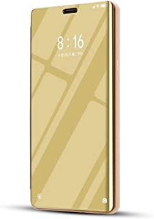 OPPOケース ホルダー付きOPPO R17 Pro用メッキミラー水平フリップレザーケース OPPOケース (色 : Gold)