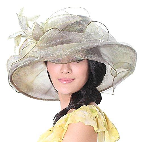 JUNE'S YOUNG Damen-Hüte Organzahut Sommer Hut Sonnenhut eleganter Hut mit Stein Schmuck Schleife Blumen sterntaler mützen Sommerhut Sandstrand Party