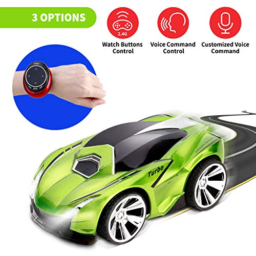 MEG Voice Control Car, RC Remote Controlled Car with a Smartwatch Remote, 3 Modes Wrist Watch, Girls and Boys Road Racing Car, Kids and Adults Rechargeable Vehicles, USB Charger, Wireless Electric Car