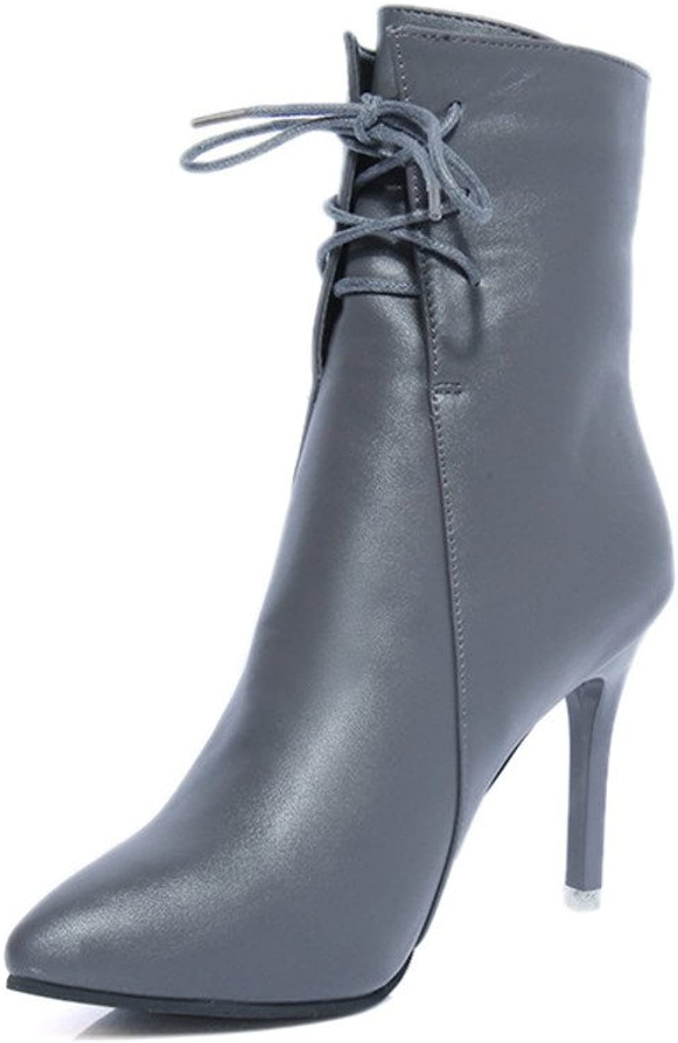 Sexy Boots in Autumn and Winter Lace Stiletto Boots high Heels Pointy Boots Martin Short Women's Boots
