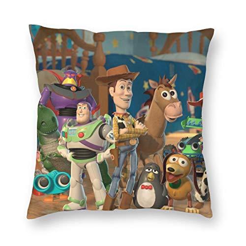 Weretlyop Fundas de almohada de Toy Story de 2 personajes, cuadradas, para sofá, coche, color blanco, 26 pulgadas x 26