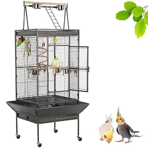 Yaheetech Gabbia Voliera Grande per Uccelli Pappagalli Calopsite in Metallo e Legno con Piedistallo Ruote Giocattolo da Interno e Esterno Nera