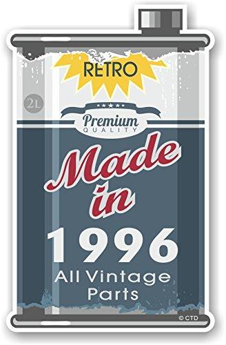 Retro Made In 1996 Alle Vintage Onderdelen Jaar Gedateerd Ontwerp Van Een Oude Tin Metalen Olie Kan Motief Novelty Vinyl Auto Motorfiets Sticker Decal 110x70mm