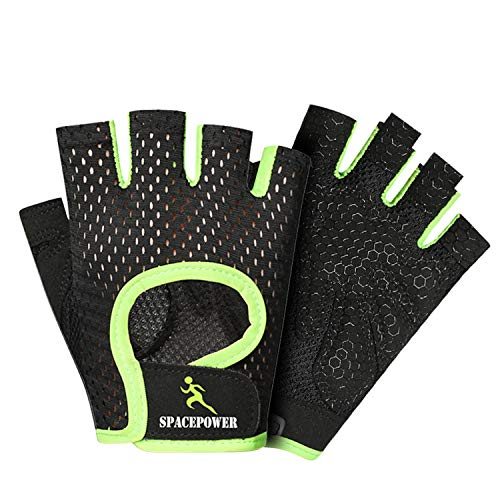 spacepower Full-Protective Gym Gloves, Breathable Workout Gloves, Exercise Gloves for Fitness, Cross Training for Men & Women (Green, L)