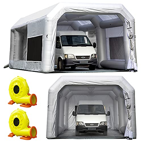 OZIS Portable Paint Booth 30X16.5X11Ft Upgrade Larger Filter System with (1100W+750W) Blowers, Inflatable Paint Spray Booth Larger Space with Tool Room, Portable Airbrush Painting Tent Workstation