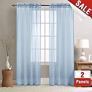 Sheer Curtains Blue 84 inch Length Window Curtain Set for Living Room Drapes Textured Voile Rod Pocket Sheer Window Panels for Bedroom 2 Panels