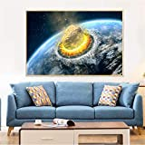 GJQFJBS Galaxy Planet Poster Universe Earth Meteorite Imagen de Pared para Sala de Estar Home Art Decoration A4 60x80cm