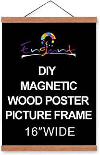 Magnetic Poster Hanger Frame, DIY Lightweight Wooden Picture Frame Hanger with Strong Magnet for Hanging Poster, Map, Photos, Paper Print, Oil Painting and Canvas Print Artwork, Easy to Operate 16 in