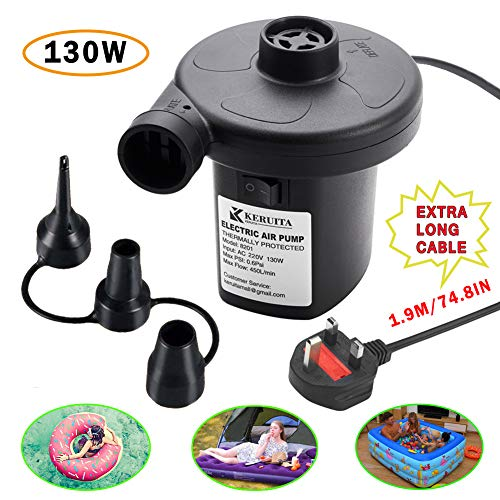 KERUITA Electric Pump Air Pump for Inflatables Airbed Pump Pool Toy Float Pump AC 220V/12V