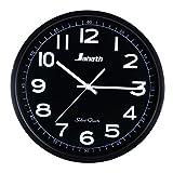 35,56 cm acero inoxidable moderno cuarzo silencioso decoración para el hogar, negro