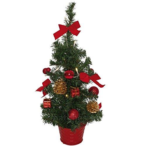 matches21 Kleiner Weihnachtsbaum beleuchtet & dekoriert Tannenbaum 45 cm LEDs warmweiß rot geschmückt Weihnachtsbäumchen batteriebetrieben