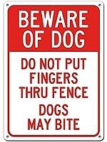 安全標識-犬に注意してくださいフェンスの標識に指を入れないでください-インチの金属錫標識UV保護および耐候性