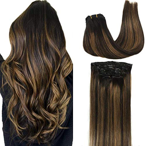 GOO GOO Clip in Hair Extensions Balayage Natural Black to Chestnut Brown Clip in Remy Hair Extensions 100% Real Human Hair 7 Pieces 120g 20 inch Silky Straight