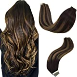 GOO GOO Hair Extensions Tape in Ombre Dark Brown to Chestnut Brown 50g 20pcs Real Remy Human Hair Extensions Tape in Straight 18 inch