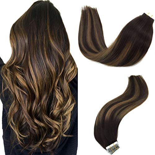 GOO GOO 20pcs 50g Tape in Hair Extensions Balayage Dark Brown to Chestnut Brown Real Remy Human Hair Extensions Tape in Straight 20inch