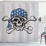 ABAKUHAUS Schädel Duschvorhang, Pirate Schlechter Kopf Knochen, Klare Farben aus Stoff inkl.12 Haken Farbfest Schimmel & Wasser Resistent, 175 x 200 cm, Blau Grau Schwarz