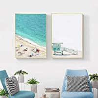 Sunset Boat Ocean Picture Nature Landscape Poster Nordic Decoration Beach Bus Print Wall Art Canvas Painting 40x60cmx2 Unframed gifts