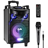 Moukey Portable Karaoke Machine Speaker with Microphone, Bluetooth 5.0 PA System with 8' Subwoofer, DJ Lights, TWS, Recordable, MP3/USB/TF/FM Radio (RMS 120 W to Peak Power 500W) - MTs8-1