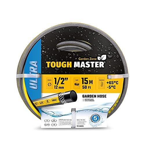 TOUGH MASTER Heavy Duty Garden Hose 3 Layer Flexible Reinforcement UV &...