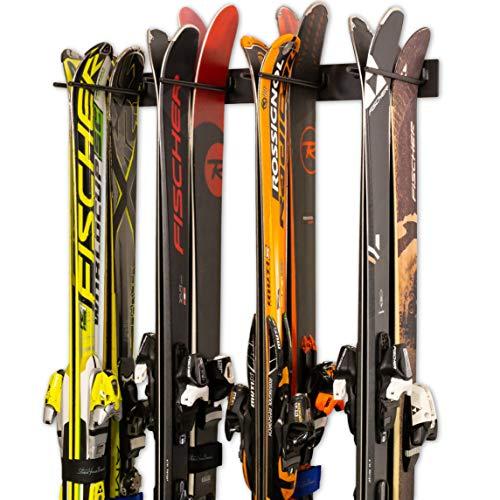 StoreYourBoard Ski-Wandhalterung für 8 Paar Skihalterungen für Heim- und Garagen-Ski aus Stahl (Schwarz)