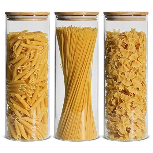 ComSaf 2200ml Luftdichter Vorratsglas 3er-Set, Φ10cm Spaghetti Glasbehälter Vorratdosen aus Borosilikatglas mit Bambus-Deckel für Lebensmittel Spagetti Nudeln Getreide
