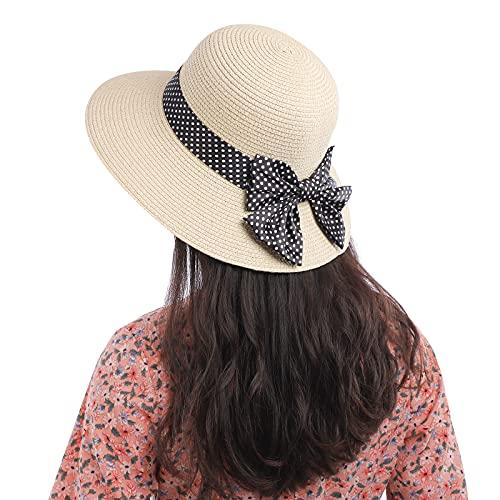 MoonSing Cappello da Sole di Paglia per Donna, Pieghevole Cappello Parasole di Paglia con Decorazione a Fiocco, Cappellini di Protezione UV da Spiaggia Estivo Tondo Grande for Viaggio, Vacanza