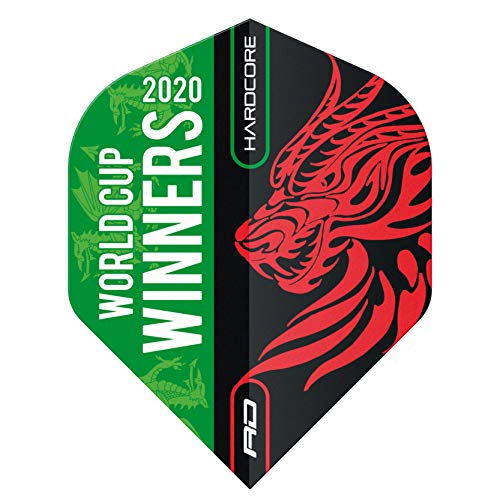 RED DRAGON Hardcore World Cup Winning Dart Flights - 3 Sets Per Pack (9 Dart Flights in total)