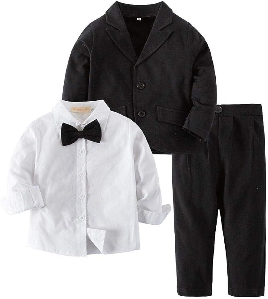 Bilo Baby Boy Tuxedo Formal Wear Suit 3-PC Shirt Pants and Jacket