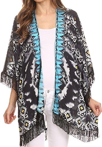 Sakkas KF25033521AT - Kimono Holliday Tribal Sheer Kimono Top Cardigan with Fringe and Open Front - Black/Multi - OS