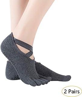 Mujer Calcetines Pilates Yoga - 2/4 Pares Antideslizantes Traspirable Calcetín Barra Ballet Danza Calcetines