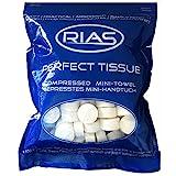 Original Rias 100 Stück Trockentücher in Form von Tabletten, Handtuchpillen, 100% biologisch abbaubar, gepresstes Mini-Handtuch, Geschirrtuch, saugfähig, Erfrischungstuch mit Wasser, Reinigungstuch, Perfecttissue