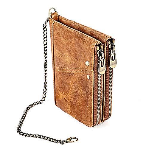 Lussebaby Brieftasche Coin Schlüssel Beutel Geldbeutel Geldbörsen Portmonee Business Casual Leder RFID Anti-Diebstahl-Pinsel Portemonnaie , 1, Braun
