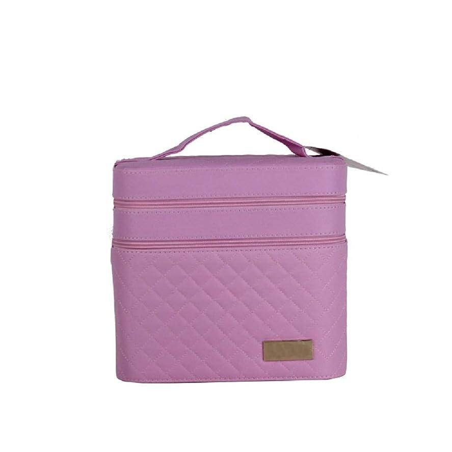 約真面目な小屋化粧オーガナイザーバッグ ジッパーと化粧鏡で小さなものの種類の旅行のための美容メイクアップのためのピンクのポータブル化粧品バッグ 化粧品ケース