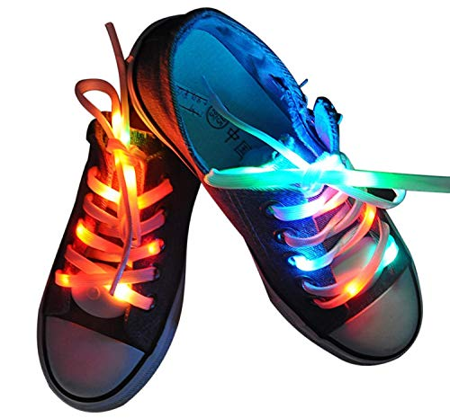 Lystaii LED Light Waterproof Shoelaces Shoestring Battery Powered Flash Lighting The Night