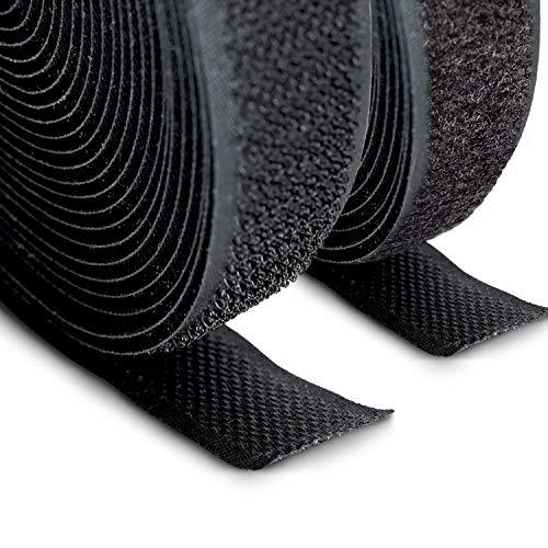 FrogJim nastro in pile e gancio per cucire e artigianato, nero, largo 20mm, ogni 5m rotolo in pile e 5m rotolo gancio KRNS5