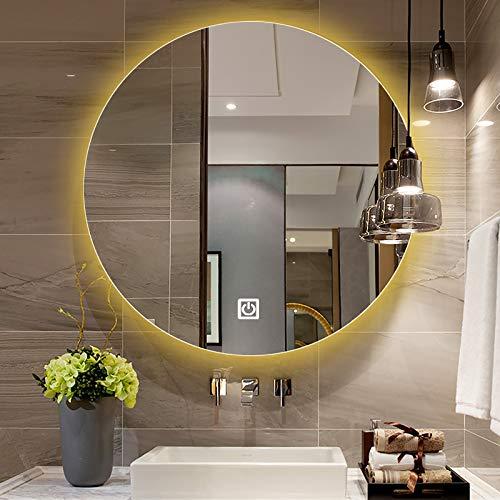 GETZ Espejo Redondo de Baño con Iluminación LED, Espejo de Vanidad Espejo de Maquillaje Regulable con Luces, Espejo de Baño Iluminado Redondo, Múltiples Opciones