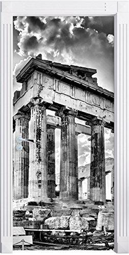 Preisvergleich Produktbild Stil.Zeit Möbel Monocrome,  Antike Säulen Griechenland als Türtapete,  Format: 200x90cm,  Türbild,  Türaufkleber,  Tür Deko,  Türsticker