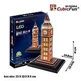 CubicFun 3D Puzzle London Big Ben(con Led) para niños, 28 Piezas