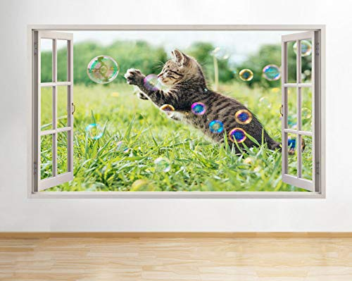 H617 Kitten Spelen Bubble Dieren Venster Muursticker 3D Art Stickers Vinyl Room 24