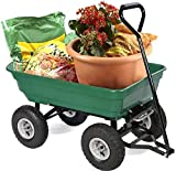 PayLessHere Heavy Duty Poly Utility Yard Dump Garden Cart Wheel Barrow, Green