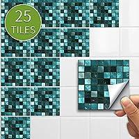 モザイクタイル壁ステッカーレトロな自己接着防水スプラッシュバックDIYキッチンバスルームホームウォールステッカービニール3D (Color : Green mosaic, Size : 10x10cmx25pcs)