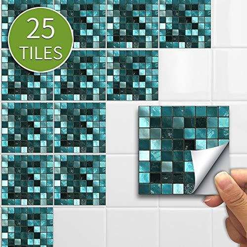 Pegatinas de pared de azulejo de mosaico 3D Retro autoadhesivo impermeable Splashback DIY Cocina Baño Decoración del hogar Pegatinas de pared Vinilo ( Color : Green mosaic , Size : 15x15cmx25pcs )