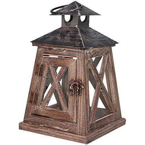 NanXi Vintage Holz-Laterne Landhaus kandelaber Gartenlaterne mit Metalldach Klassik Windlicht Stalllaterne Leuchte Kerzenhalter Kerzenleuchter Teelichthalter Dekoration,B
