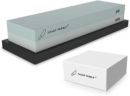Premium Whetstone Sharpening Stone 2 Side Grit 400/1000 | Knife Sharpener Waterstone with Nonslip Rubber Base & Flattening Stone